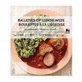 Delhaize Gehaktbal met Luikse saus (voor uw eigen risico, geen restitutie mogelijk)
