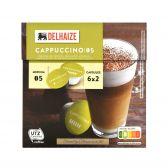 Delhaize Cappuccino koffiecapules 6 koffie en 6 melk