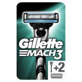 Gillette Mach 3 base shaving system with 2 razor blades